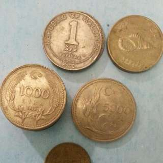 Old Coin Mix Country, 1000 > 5000 Turkish Lira  n 1> 2 Republic of Maldives