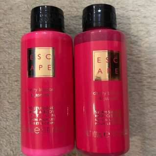 Escape body soap and hand and body lotion