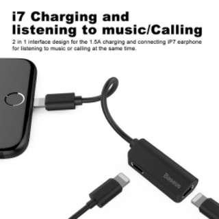 耳機 充電 分插 轉換器 黑色 Splitter Dual Lightning Headphone Audio Charging Adapter Baseus Adapter,Baseus Dual Lightning Headphone Audio & Charge & Call Adapter Splitter for iPhone X,iPhone 8/8Plus,iPhone 7/7Plus, Support for iOS 10.3 and Later(Black)