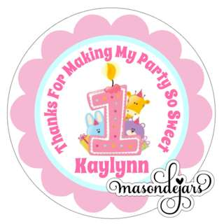 Customized Sticker Label for Wedding Engagement Birthday Event Baby Full Month Shower Party Goodie Bag ( animal safari )