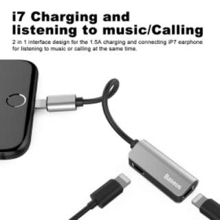 耳機 充電 分插 轉換器 銀色 Splitter Dual Lightning Headphone Audio Charging Adapter Baseus Adapter,Baseus Dual Lightning Headphone Audio & Charge & Call Adapter Splitter for iPhone X,iPhone 8/8Plus,iPhone 7/7Plus, Support for iOS 10.3 and Later(Silver)