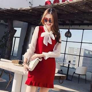 韓版氣質針織拼接雪紡假兩件連衣裙洋裝