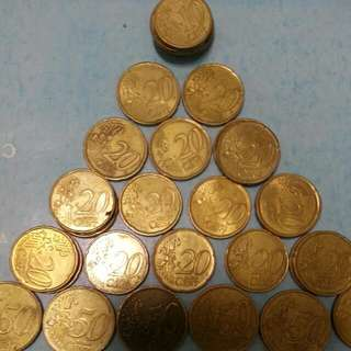 Old Coin Currencies EURO 10 Cent to 50 Cent.10ct ×6 ,20 Ct ×19 , 50ct ×6