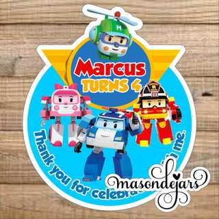Customized Sticker Label for Wedding Engagement Birthday Event Baby Full Month Shower Party Goodie Bag ( Robocop Poli )