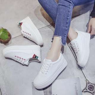 Ladies Korean Ulzzang Lace Up Platform White Sneakers