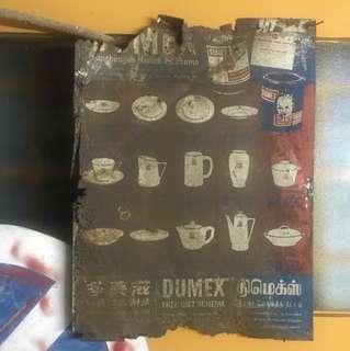 Vintage dumex tin sign
