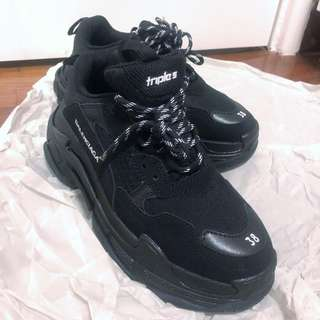 Balenciaga triple s trainers 38 all black gift from ex