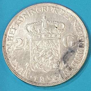 Netherlands Silver Coin 21/2 Gulden Year 1933 sale 30%