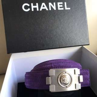 Chanel purple boy chanel belt (authentic)