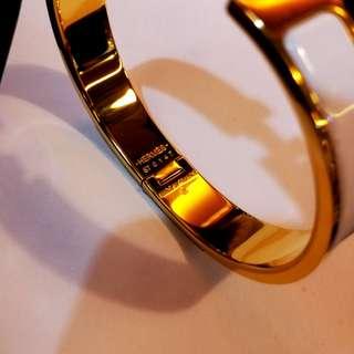 HERMES CLIC H 白金珐瑯幼手環 Size S 95%新 只攜帶過數次 有盒