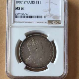 Straits Settlement 1907 UNC $1 silver coin
