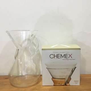 (used) Six cup Glass Handle Chemex + filters