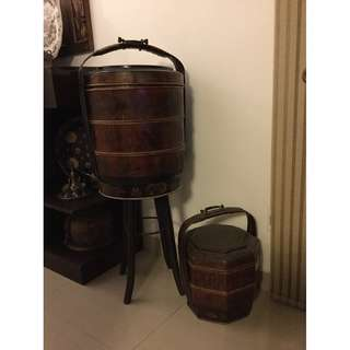 Vintage Chinese wooden/bamboo Tiffin