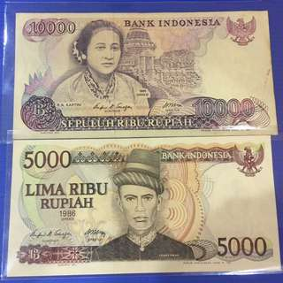 Indonesia old note 2pcs