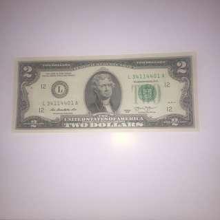 $35/張(包平郵) 全新 罕見$2美元 美金 USD 直版 UNC