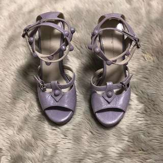 BALENCIAGA PARIS Studded Ankle Strap Raffia Leather Wedge Sandals in Purple Lavander