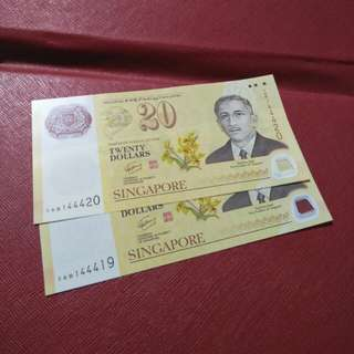 Sg old notes  $20   2pcx 28 running  number