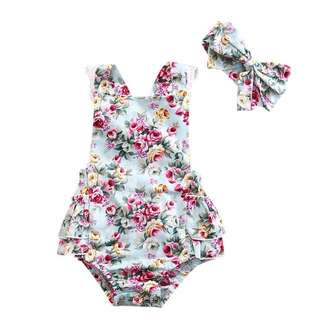 Baby girl floral sleeveless lace romper/bodysuit with headband