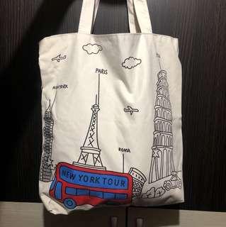 歐洲插畫巴黎倫敦托特包環保購物包帆布袋