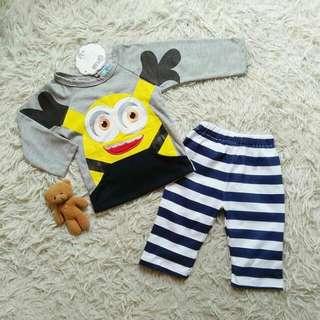Baju anak Set Pkb HAPPY Minnion