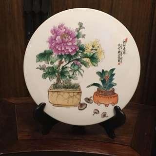 1976粉彩花奔瓷片