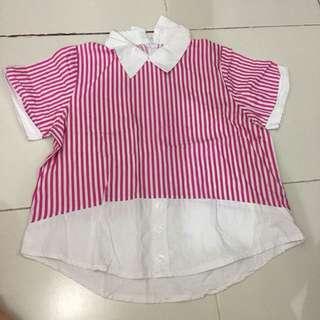 Baju kerah pink