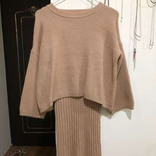 Two-Pieced Camel Wool Dress