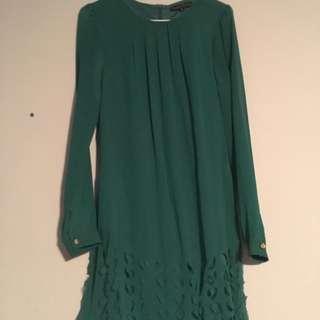 Green hole design dress