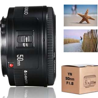 Brand New Yongnuo 50mm F/1.8 AF/MF Large Aperture Auto Focus Lens for Canon EF Mount EOS Camera