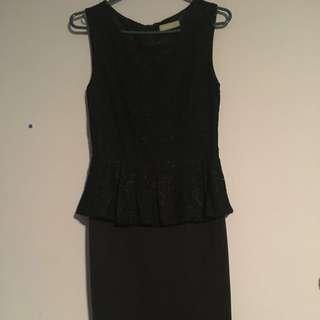 Tight black peplum dress