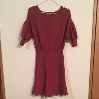 正貨snidel桃紅花邊洋裝
