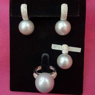 Authentic South Sea Pearls with Gold and Diamond Setting
