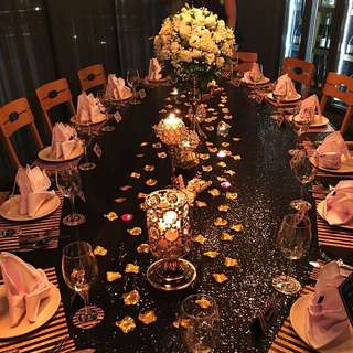 Sequin black table cloth [for rent]
