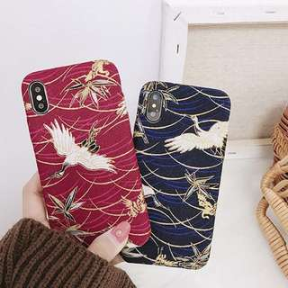 PO(207) Flying Crane Red Blue iPhone Phone Case