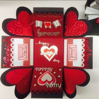 Valentines Day Handmade Explosion Box Card