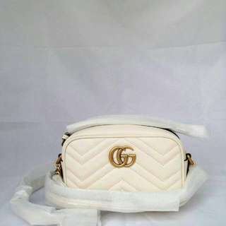 READY Gucci Mini GG Marmont L18cm x A12cm x P6cm White GHW