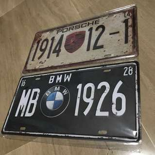 Decorative Metal Car Plates (Porsche / BMW)