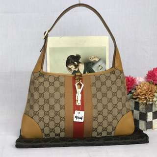 AUTH GUCCI CANVAS MIX LEATHER SHOULDER (0143454648)