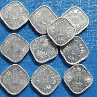 10 COINS LOT - 1 Paisa Aluminium - aUNC / UNC - india