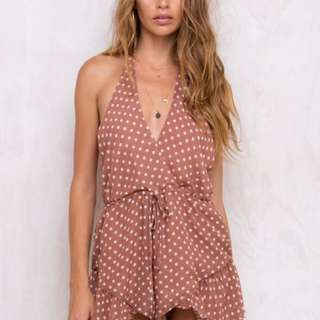 Princess Polly Polka Dot Backless Playsuit XS