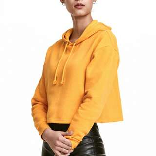 NEW with tag! - Yellow Mustard Crop Hoodie Sweatshirt Woman Casual Sweater H&M