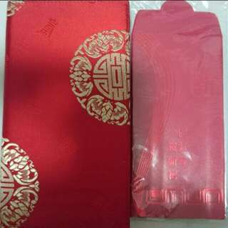 BNIP Singtel Red Packets/ Ang Pow Pack With Silky Fabric Organizer