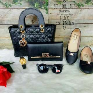 Paket Tas Dior Lady 5in1 Flat Shoes