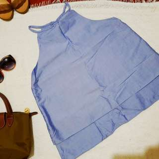 Haltered Chambray Top