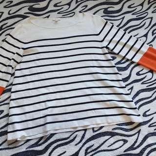 B&W w/ Orange Striped Pullover