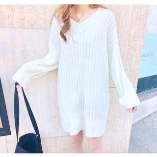🚚 CUNZ 🇰🇷韓國連線反折袖長版針織上衣/洋裝