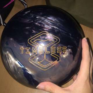 Storm timeless bowling ball 14lb first drill , thumb hole plugged