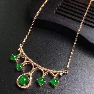 18K金豪鑲帝王綠翡翠套鏈 保證天然A貨緬甸翡翠