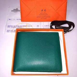 (情人節禮物) 100% Authentic 99.99% New Hermes MC2 All Evercolour Leather Wallet In Malachite 愛馬仕全皮孔雀綠男裝銀包