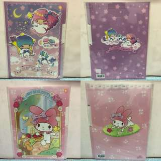 Last PCS Each Little Twin Stars My Melody A4 3 slots Clear File